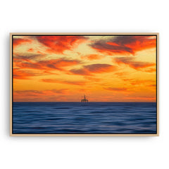 Armageddon oil rig at sunset in Perth, Western Australia framed canvas in raw oak