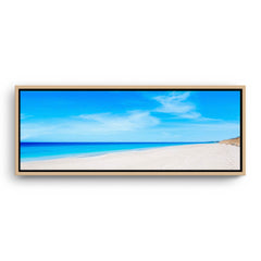 Summer day at Mullaloo Beach in Perth, Western Australia framed canvas in raw oak