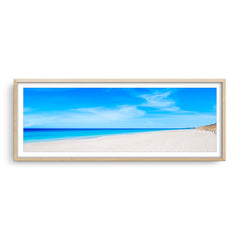 Summer day at Mullaloo Beach in Perth, Western Australia framed in raw oak