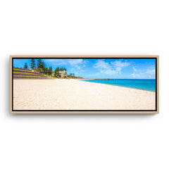 Summer at Cottesloe Beach in Perth, Western Australia framed canvas in raw oak