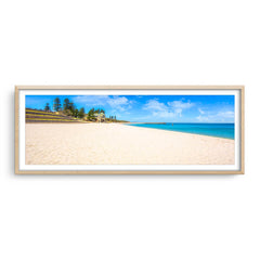 Summer at Cottesloe Beach in Perth, Western Australia framed in raw oak