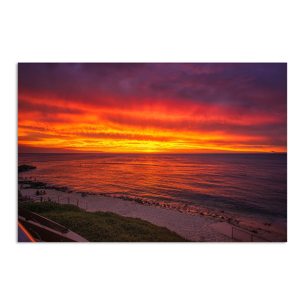 Fiery skies over Mettams Pool in Perth, Western Australia