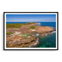 Aerial view of Cape Leeuwin in Augusta, Western Australia framed in black
