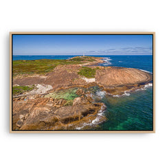 Aerial view of Cape Leeuwin in Augusta, Western Australia framed canvas in raw oak