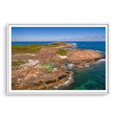 Aerial view of Cape Leeuwin in Augusta, Western Australia framed in white