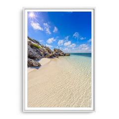 Sandy Bay on a sunny day in Western Australia framed in white