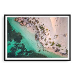 Aerial view of Sandy Cape in Western Australia framed in black