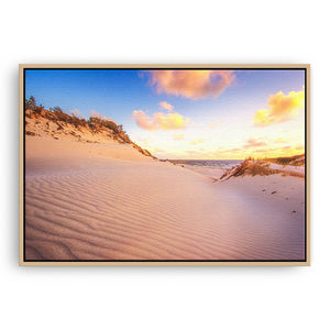 Sand ripples at sunset at Sandy Cape, Western Australia  framed canvas in raw oak