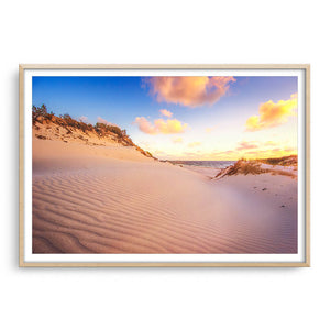 Sand ripples at sunset at Sandy Cape, Western Australia  framed in raw oak