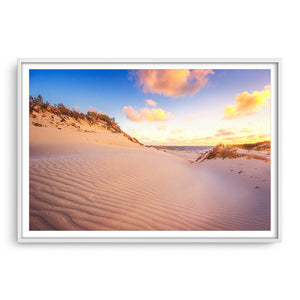 Sand ripples at sunset at Sandy Cape, Western Australia  framed in white