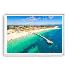 Aerial view of Jurien Bay Jetty in Western Australia framed in white