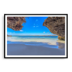 Stunning view of Sandy Cape in Western Australia framed in black