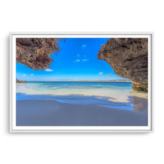 Stunning view of Sandy Cape in Western Australia framed in white