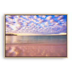 Cotton candy clouds over Sandy Cape in Western Australia framed canvas in raw oak
