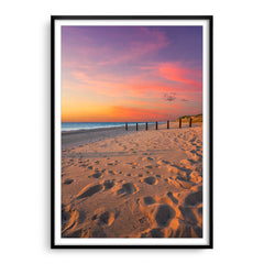 Sunset at Myalup Beach in Western Australia framed in black