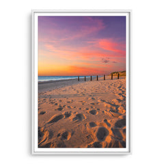 Sunset at Myalup Beach in Western Australia framed in white