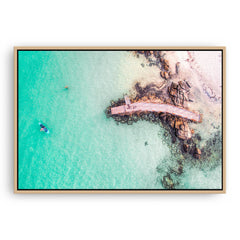 Aerial view of SUP in Augusta, Western Australia framed canvas in raw oak