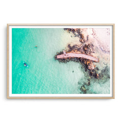 Aerial view of SUP in Augusta, Western Australia framed in raw oak
