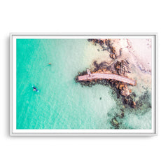 Aerial view of SUP in Augusta, Western Australia framed in white