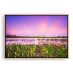 Moon rising over Lake Gwelup in Perth, Western Australia framed canvas in raw oak