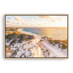 Aerial view of sunset over the sand dunes at Sandy Cape in Western Australia framed canvas in raw oak