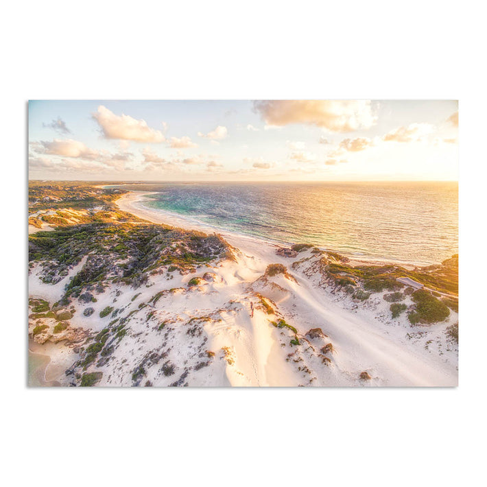 Aerial view of sunset over the sand dunes at Sandy Cape in Western Australia