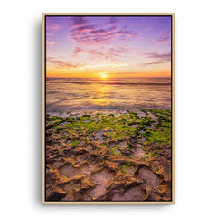 Sunset at Mettams Pool in Perth, Western Australia framed canvas in raw oak