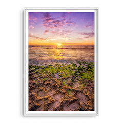 Sunset at Mettams Pool in Perth, Western Australia framed in white