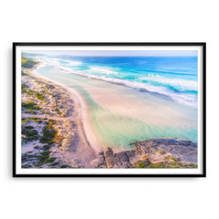 Aerial view of Eleven Mile Beach in Esperance, Western Australia framed in black