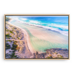 Aerial view of Eleven Mile Beach in Esperance, Western Australia framed canvas in raw oak
