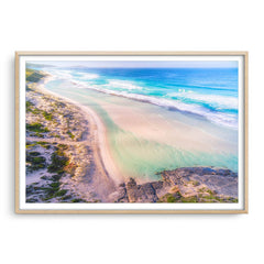 Aerial view of Eleven Mile Beach in Esperance, Western Australia framed in raw oak