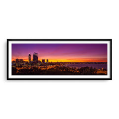 Perth City at sunrise framed in black