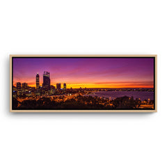 Perth City at sunrise framed canvas in raw oak