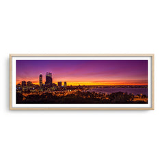 Perth City at sunrise framed in raw oak