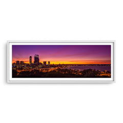 Perth City at sunrise framed in white