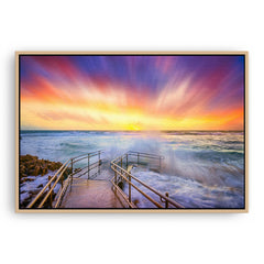 Colourful stormy sunset at Mettams Pool in Perth, Western Australia framed canvas in raw oak