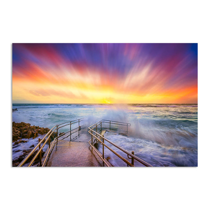 Colourful stormy sunset at Mettams Pool in Perth, Western Australia