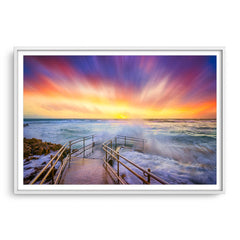 Colourful stormy sunset at Mettams Pool in Perth, Western Australia framed in white