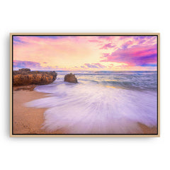 Pastel sunset at Bennion Beach in Perth, Western Australia framed canvas in raw oak