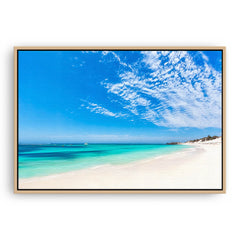 Longreach Bay on Rottnest Island in Western Australia framed canvas in raw oak