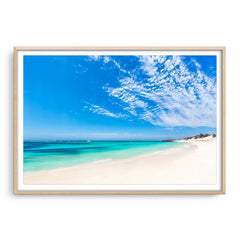 Longreach Bay on Rottnest Island in Western Australia framed in raw oak