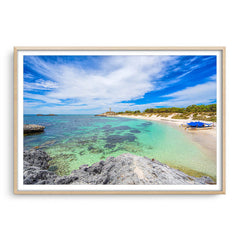 Pinky Beach on Rottnest Island in Western Australia framed in raw oak