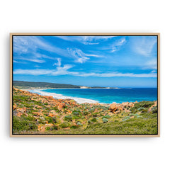 Injidup Bay in Western Australia framed canvas in raw oak
