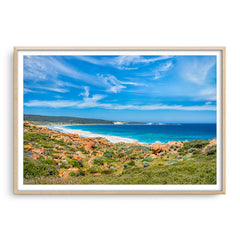 Injidup Bay in Western Australia framed in raw oak