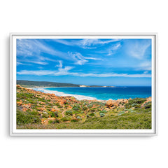 Injidup Bay in Western Australia framed in white