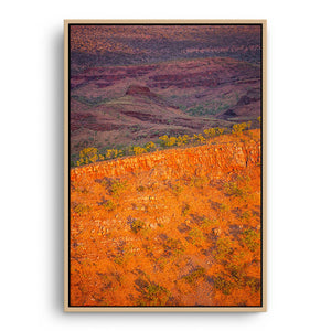 Sunset over the Kimberley Ridges in Western Australia framed canvas in raw oak