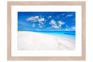 Quindalup Beach near Dunsborough, Western Australia framed in raw oak