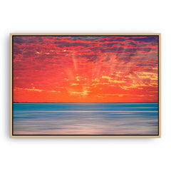 Sun rays over Scarborough Beach in Perth, Western Australia framed canvas in raw oak
