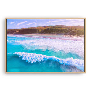 Drone image of surf break at 11 mile beach in Esperance, Western Australia framed canvas in raw oak