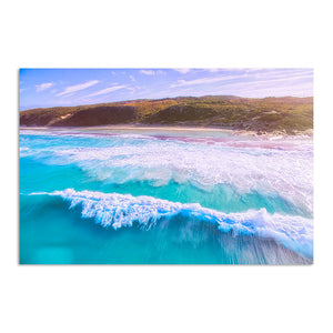 Drone image of surf break at 11 mile beach in Esperance, Western Australia